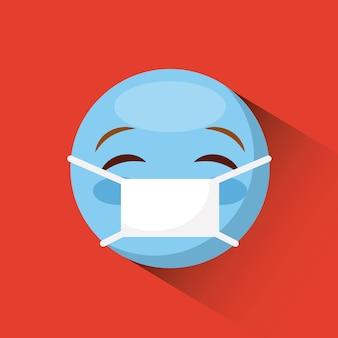 Visage d'émoticône avec l'icône de masque médical sur fond rouge. design coloré. illustration vectorielle