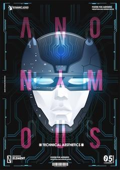 Visage de l'esprit cyber. concept d'arrière-plan technologique. intelligence artificielle et big data, concept d'internet des objets. ia.