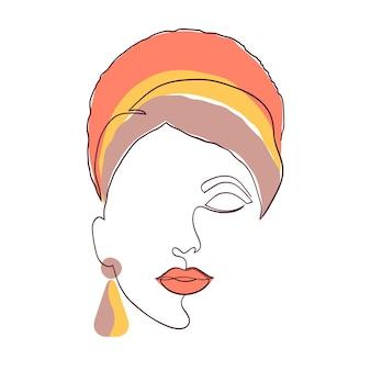 Visage féminin dans un style minimal. art contemporain. visage de femme sur fond blanc.