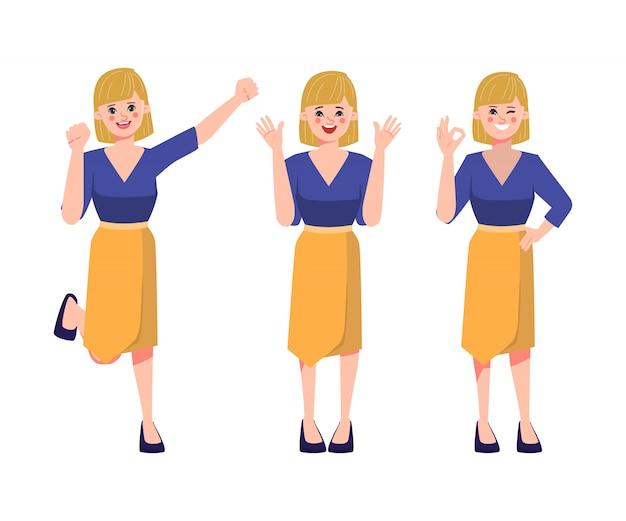 Visage de femme d'affaires et d'émotions heureuses.
