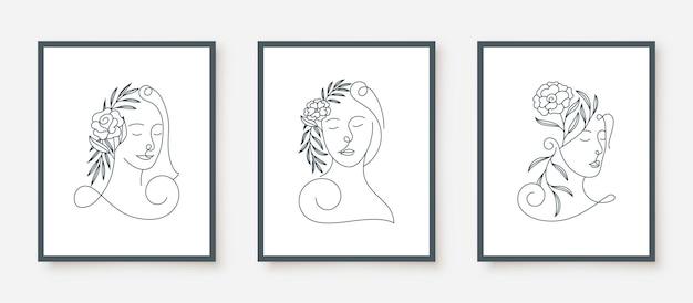 Visage de femme beauté dans un cadre floral art en ligne