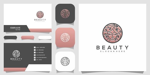 Visage de femme belle créative pur avec logo de style art ligne feuille et conception de carte de visite