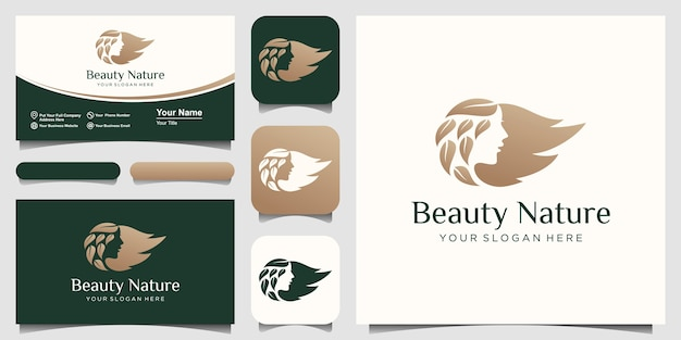 Visage de femme et création de logo dégradé or salon feuille de cheveux