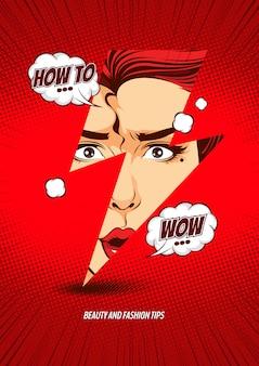 Visage de femme dans la foudre, modèle de couverture de bande dessinée illustration.