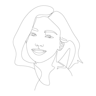 Visage de femme illustration d & # 39; art une ligne