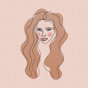 Visage de femme ligne aux cheveux longs sur rose