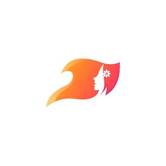 Visage de femme logo de beauté