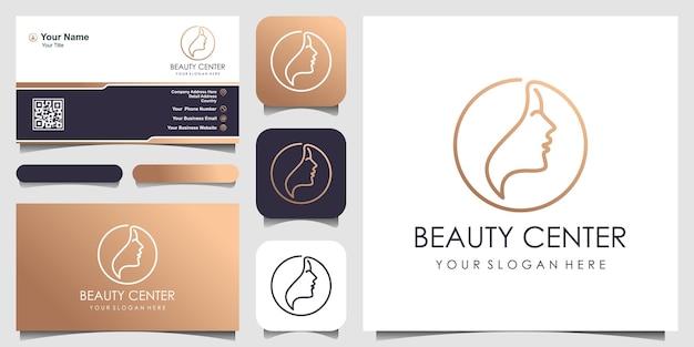 Visage de femme avec le logo de cercle de ligne et le concept de conception de conception de carte de visite pour le spa de mode de beauté