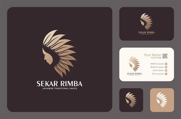 Visage de femme avec un logo de feuilles de couleur dorée
