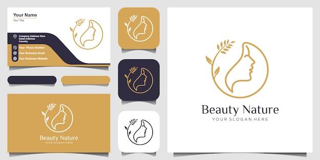 Visage de femme avec logo fleur et carte de visite