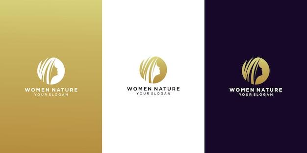 Visage de femme et logo de salon de feuille de cheveux
