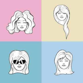 Visage de femme mignonne avec coiffure et expression