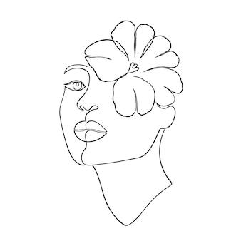 Visage de femme minimal dans le style d'art en ligne sur fond blanc.