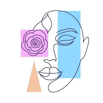 Visage de femme minimal et figures géométriques sur fond blanc.