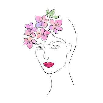 Visage de femme minimal avec des fleurs à l'aquarelle.