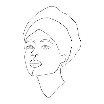 Visage de femme minimal sur fond blanc. un style de dessin au trait.