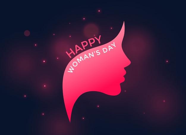 Visage de femme rose pour la journée des femmes heureux