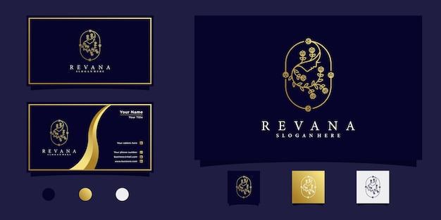 Visage de femmes de beauté avec création de logo de fleur de branche dégradé or et carte de visite vecteur premium