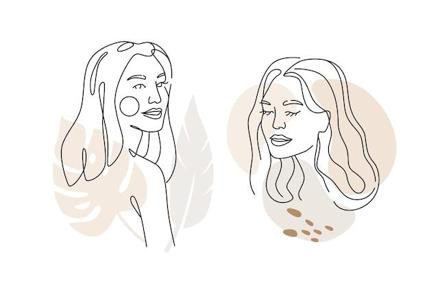 Visage de femmes, dessin au trait avec abstrait.