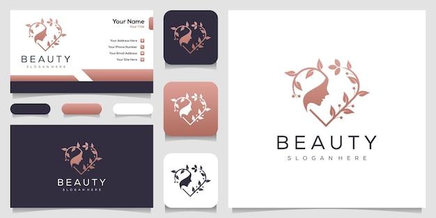 Visage de femmes féminines et feuille avec style d'art en ligne et conception de cartes de visite