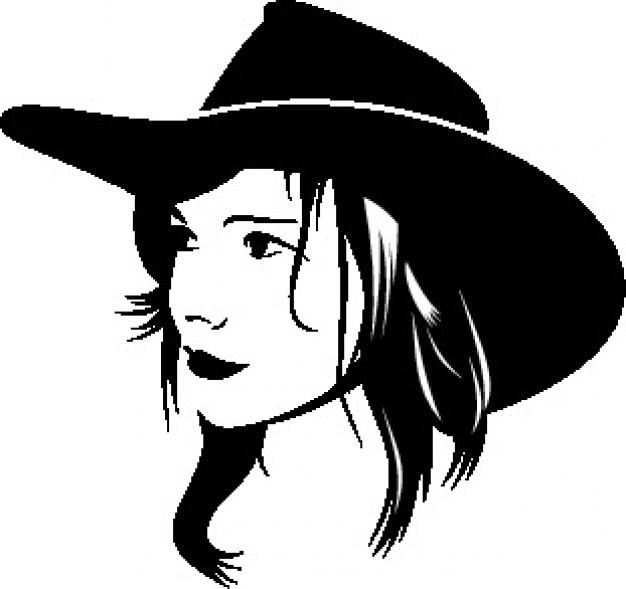 Visage de la fille de cow-boy avec chapeau