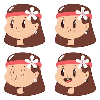 Visage de fille hippie mignon avec jeu de dessin animé d'expressions isolé.