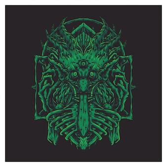 Visage géant effrayant vert