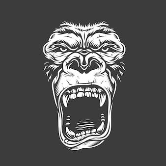 Visage de gorille sur blanc