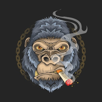 Visage de gorille fumant une conception d'illustration de dessin animé de cigarette sur fond noir