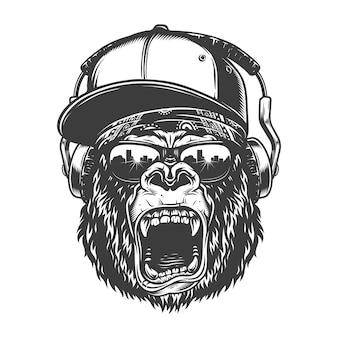 Visage de gorille hipster