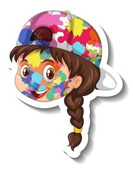 Visage heureux de fille avec la couleur sur son autocollant de visage sur le fond blanc
