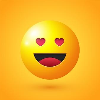 Visage heureux avec des yeux d'amour emoji