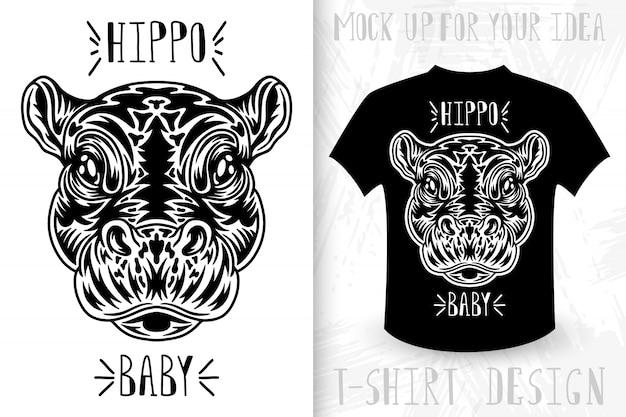 Visage d'hippopotame. t-shirt imprimé dans le style vintage monochrome.