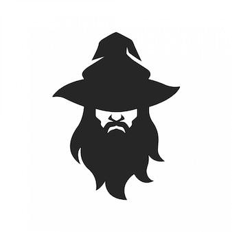 Visage d'homme démoniste sorcier avec chapeau barbe