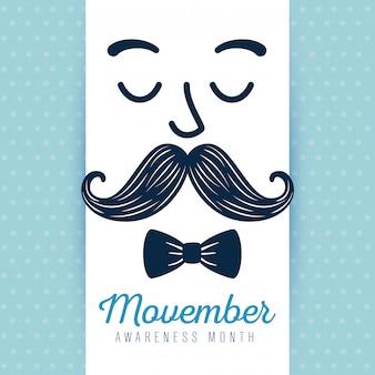 Visage homme moustache et cravate bow movember illustration