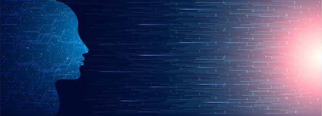 Visage humain fait par circuit numérique