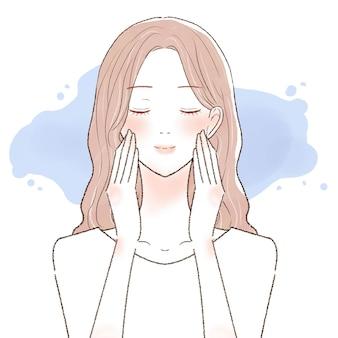 Visage hydratant de femme. sur un fond blanc.