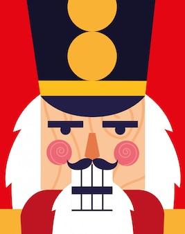Visage d'icône de jouet soldat casse-noisette