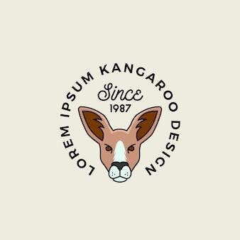 Visage de kangourou de dessin animé de style de ligne avec signe abstrait de typographie rétro, symbole ou modèle de logo.