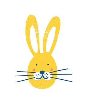 Visage de lapin adorable isolé sur fond blanc. tête de lapin mignon, lièvre ou levier. museau d'animal de forêt drôle. illustration vectorielle enfantine de dessin animé plat pour l'impression de t-shirt ou de sweat-shirt.