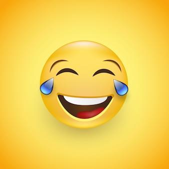 Un visage avec des larmes de joie emoji. rire aux larmes.