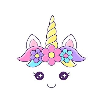 Visage de licorne mignon avec illustration de fleurs