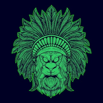 Visage de lion avec des accessoires de tribu