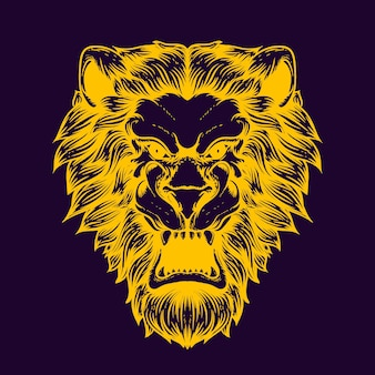 Le visage de lion brille dans la couleur sombre