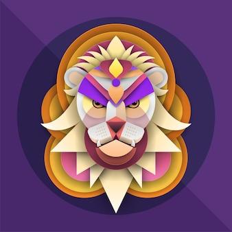 Visage de lion dans des illustrations créatives de style découpé en papier coloré