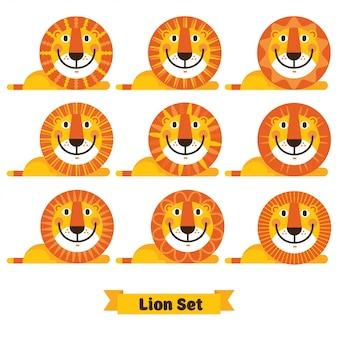 Visage de lion mignon avec des coiffures différentes