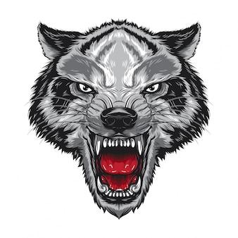 Visage de loup en colère
