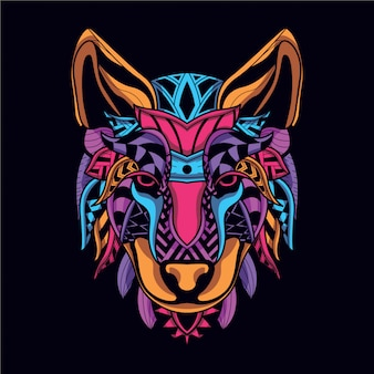Visage de loup décoratif de couleur néon
