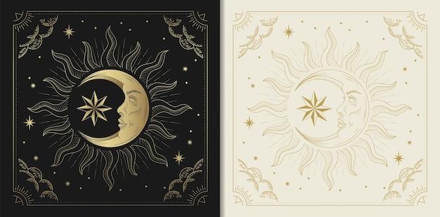 Visage de lune avec des étoiles dans le style de gravure