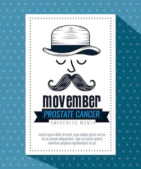 Visage masculin avec chapeau et moustache avec carte de ruban